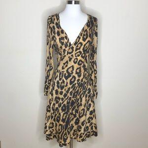 Vintage SAKS 5TH AVENUE Cheetah print wrap dress